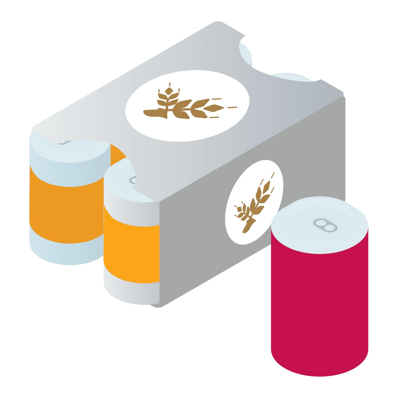 6缶入りビール缶の紙パック・金属缶